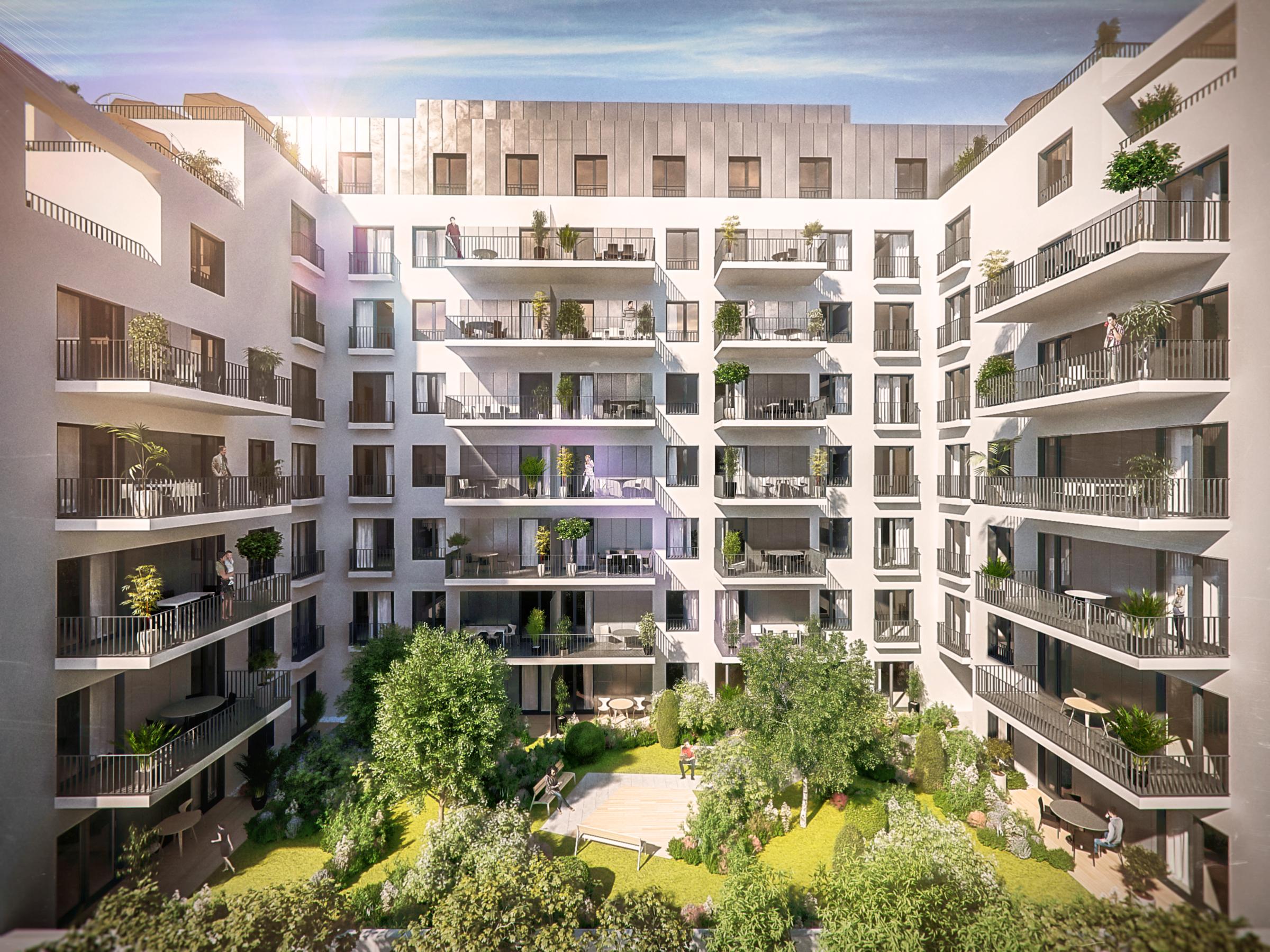 Marone House napos lakások közös belső kerttel